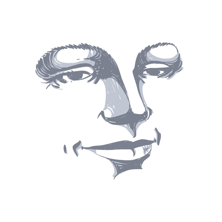 meditative: Monochrome hand-drawn silhouette of woman face, delicate features. Face expression on lady face, vector illustration.