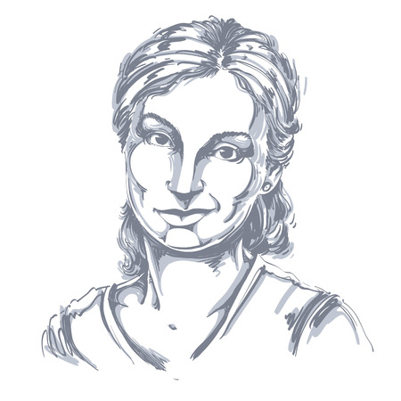 Hand-drawn vector illustration of beautiful skeptic woman, I do not believe you. Monochrome image, expressions on face of young lady, doubter.