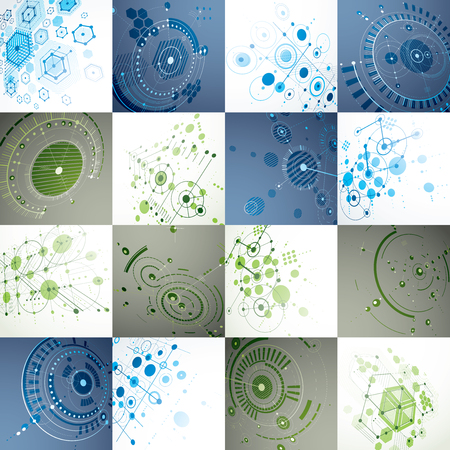 overlie: Bauhaus art, set of modular vector wallpapers made using circles and hexagons. Retro style pattern, perspective backdrops for use as booklet cover templates. 3d illustration of engineering system.
