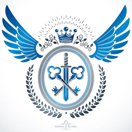 eagle shield and laurel wreath: Classy emblem, vector heraldic Coat of Arms. Illustration