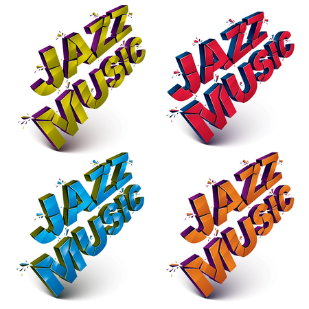 Set of 3d shattered vector jazz music words created with refractions. Dimensional inscription with specks isolated on white background.