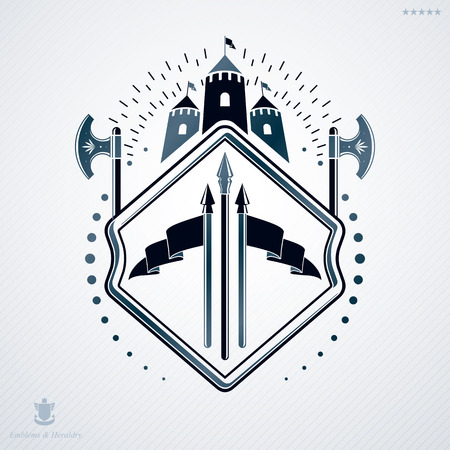 Luxury heraldic vector emblem template made using hatchets and medieval castle