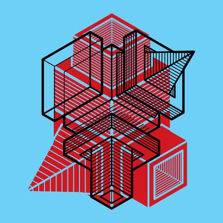 genuine: Engineering three-dimensional construction, abstract vector trigonometric shape.