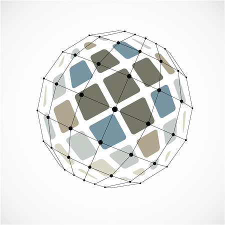 Vector dimensional wireframe low poly object, spherical colorful facet shape with black grid. Technology 3d mesh element made using squares for use as design form in engineering.