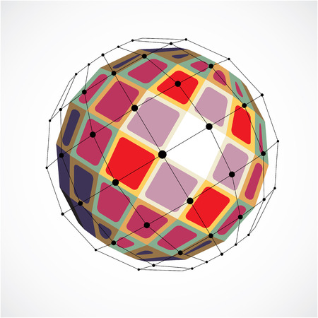 Abstract vector low poly object with black lines and dots connected. Colorful 3d futuristic globe with overlapping lines mesh and squares.