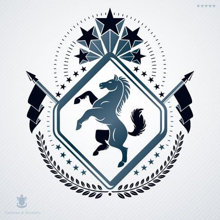 Luxury heraldic vector emblem template made using horse illustration and pentagonal stars Illustration