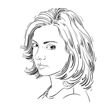 Artistic hand-drawn vector image, black and white portrait of delicate melancholic peaceful girl. Emotions theme illustration. Attractive model.