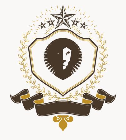 armory: Vector emblem, vintage heraldic design. Illustration