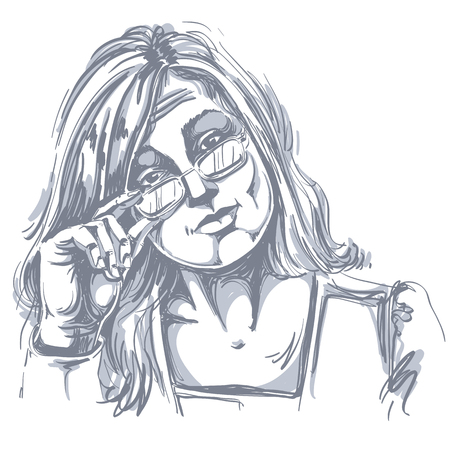 Hand-drawn vector illustration of beautiful business woman in doubt. Monochrome image, expressions on face of young distrustful lady with eyeglasses.