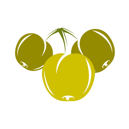 fertility emblem: Harvesting symbol, vector fruits isolated. Ripe organic sweet apple, healthy food idea design icon.
