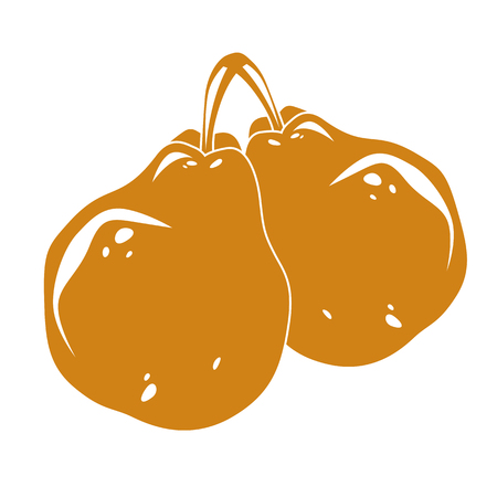Two yellow simple vector pears, ripe sweet fruits illustration. Healthy and organic food, harvest season symbol.
