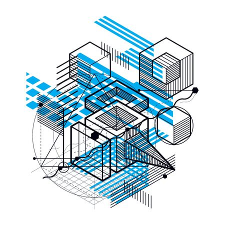 modular rhythm: Abstract background with isometric elements, vector linear art with lines and shapes. Cubes, hexagons, squares, rectangles and different abstract elements.