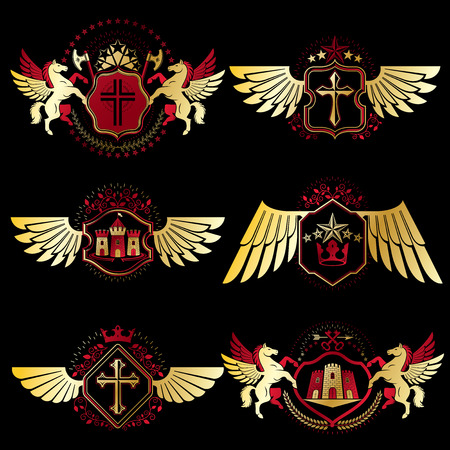 Heraldic Coat of Arms created with vintage vector elements, bird wings, animals, towers, crowns and stars. Classy symbolic emblems collection, vector set. Illustration