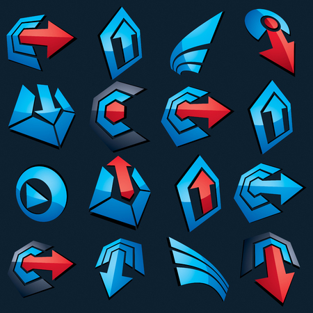 arrowhead: Dimensional vector blue app buttons. Collection of arrows, direction icons and different business corporate graphic symbols.