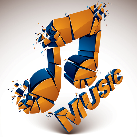 3d vector orange demolished musical notes, music word. Dimensional groove design element with refractions, explosion effect.