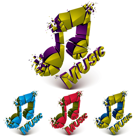 Collection of 3d vector demolished musical notes, music word. Dimensional groove design elements with refractions, explosion effect.