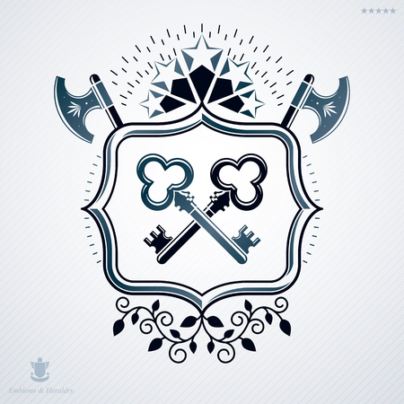 Classy emblem made with stars decoration, armory and keys symbols. Vector heraldic Coat of Arms.