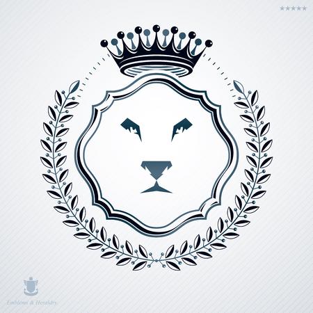 laurel leaf: Classy emblem made with laurel leaf decoration, head of lion and crown symbol. Vector heraldic Coat of Arms.