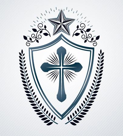 armory: Vintage decorative emblem composition, heraldic vector.