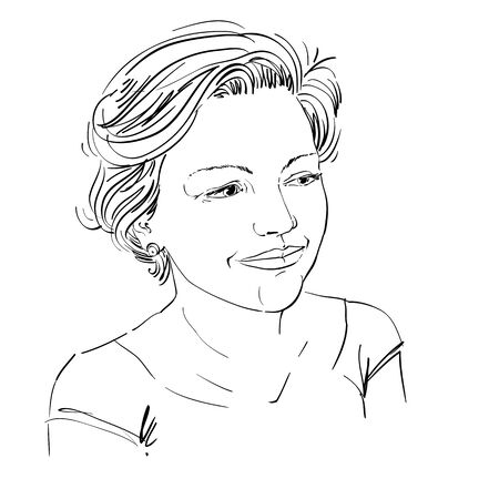 bemused: Hand-drawn vector illustration of beautiful romantic woman. Monochrome image, expressions on face of young lady with short hair. Illustration