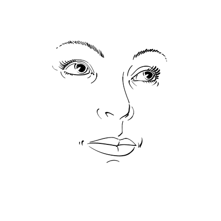 bemused: Black and white illustration of lady face, delicate visage features. Eyes and lips of a woman expressing positive emotions.