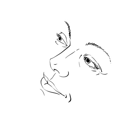 brow: Hand-drawn illustration of woman face, black and white mask with emotions. Features of beautiful girl, posing for portrait.