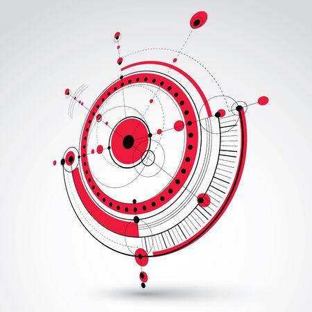 Technical drawing made using dashed lines and geometric circles. Red perspective vector wallpaper created in communications technology style, 3d engine design.