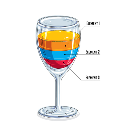 Creative infographics element, 3d wineglass with three layered liquid idea, cocktail, vector illustration.