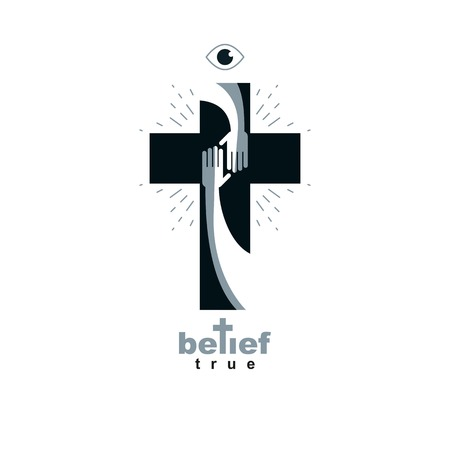 Hand of believer extends to the hand of God, helping and love of Jesus. Christian Cross true belief in God vector symbol, Christianity religion icon.