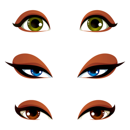 Vector female eyes in different emotion with blue, brown and green eye iris. Women eyes with stylish makeup isolated on white background. Illustration