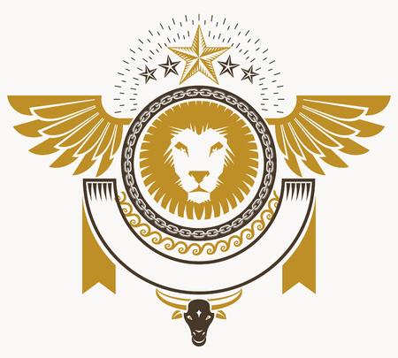 winged lion: Vintage decorative emblem composition, heraldic vector.