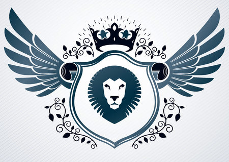 lion wings: Vector retro insignia design decorated using vintage elements like monarch crown, eagle wings and wild lion illustration Vectores