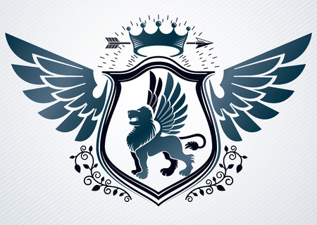 Vector retro insignia design decorated using vintage elements like monarch crown, eagle wings and wild lion illustration Illustration