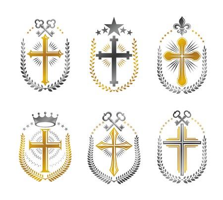 christian crosses: Christian Crosses emblems set. Heraldic vector design elements collection. Retro style label, heraldry logo.