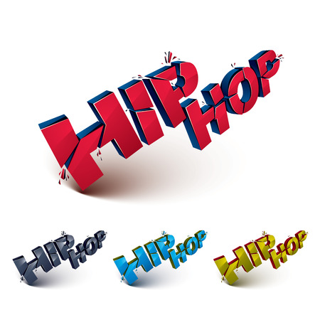 Set of 3d shattered vector hip hop words created with refractions. Dimensional inscription with specks isolated on white background. Illustration