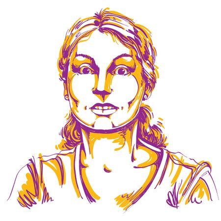 terrified woman: Vector portrait of scared woman, illustration of amazed or frightened female. Person emotional face expression, surprise. Illustration