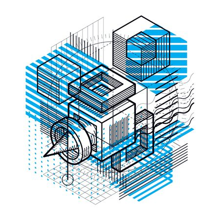 perspectiva lineal: Isometric linear abstract vector background, lined abstraction. Cubes, hexagons, squares, rectangles and different abstract elements.