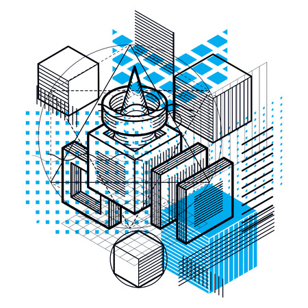 Isometric abstract background with lines and other different elements, vector abstract template. Composition of cubes, hexagons, squares, rectangles and different abstract elements. Illustration