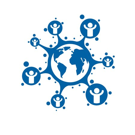 interacts: World and Person creative logo, unique vector symbol created with different icons. System and social Matrix sign. Person and humankind interacts with each other. System and social Matrix sign.