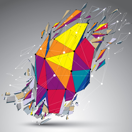 3d vector low poly object with connected lines and dots, colorful geometric wireframe shape with refractions. Asymmetric perspective shattered form. Illustration