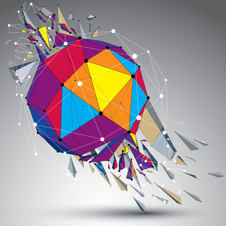 Abstract colorful 3d faceted figure with connected lines and dots. Vector low poly shattered design element with fragments and particles. Explosion effect. Illustration