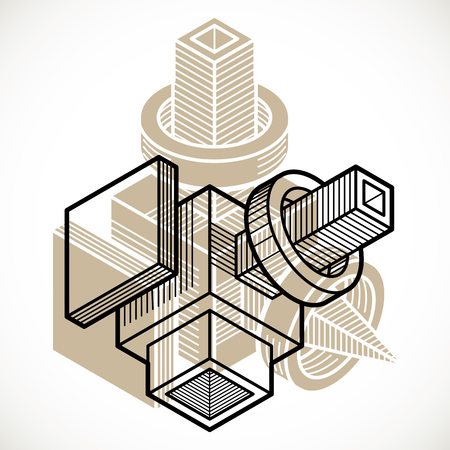 Isometric abstract vector dimensional shape, polygonal figure Illustration
