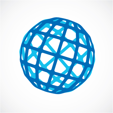3d vector digital spherical object made using square facets. Low poly shape, blue polygonal globe, abstract form for use in web design. Illustration