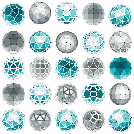 Ensemble de vecteur à faible poly objets sphériques avec des lignes et des points connectés, 3d formes filaires géométriques. Perspective trigonométrie orbes facettes créées avec des triangles, des carrés et des pentagones.