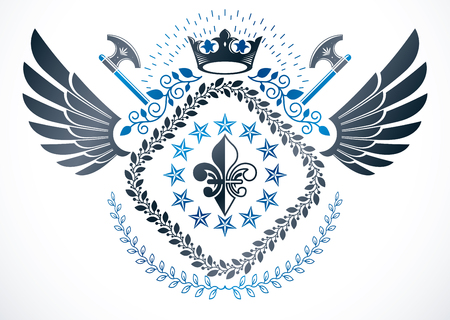 armory: Heraldic coat of arms decorative emblem. Illustration