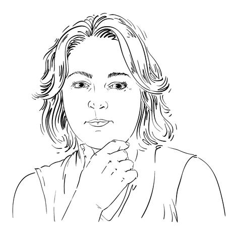 Portret van gevoelige knappe vrouw die over iets, zwart-witte vectortekening denken. Emotionele uitdrukkingen idee afbeelding. Stock Illustratie