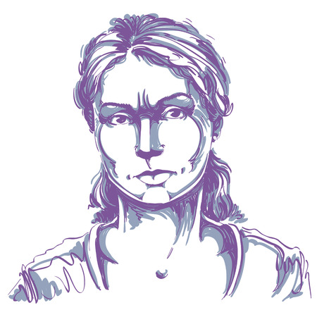Graphic vector hand-drawn illustration of white skin angry lady with stylish haircut. People negative face expressions. Misunderstood theme. Illustration