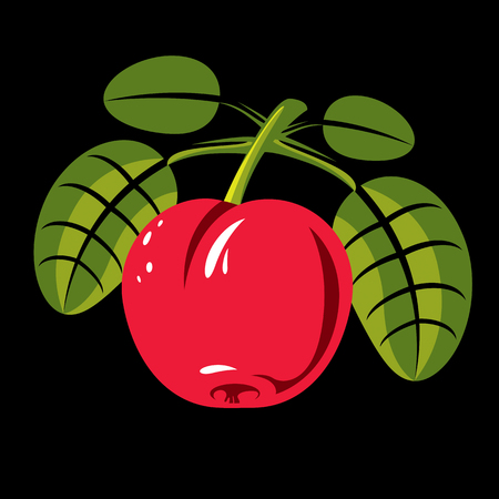 fertility emblem: Red simple vector cherry with green leaves, ripe sweet berry illustration. Healthy and organic food, harvest season symbol. Illustration