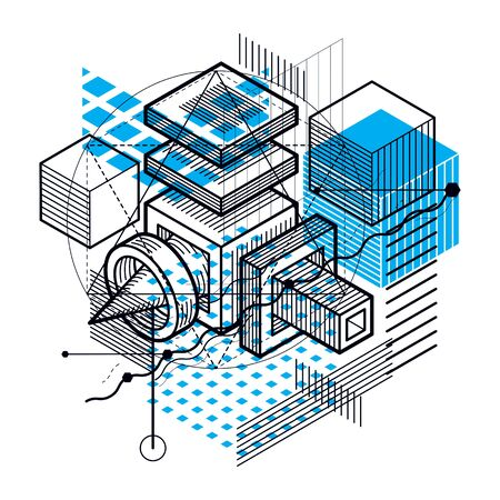 Isometric linear abstract vector background, lined abstraction.