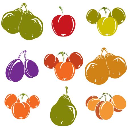 Set of colorful different vector ripe sweet fruits. Apricots, plums, pears, apples and cherries isolated on white background. Organic food symbols. Illustration
